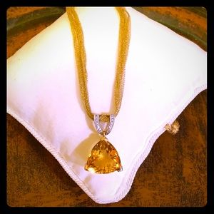 """UNFORGETTABLE"" 18k Mesh Chain w/14k Citrine Pend"